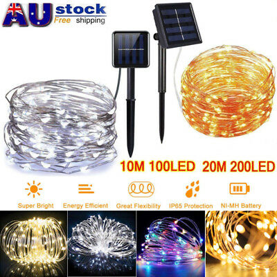 100/200LED Solar Outdoor String Fairy Lights Copper Wire Waterproof Party Decor
