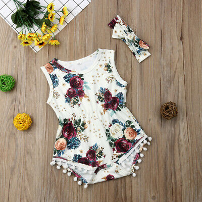 UK Stock Newborn Baby Girl Floral Romper Jumpsuit Outfit Headband Clothes Summer