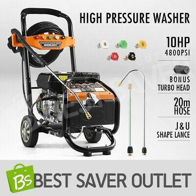 10HP 4800PSI High Pressure Washer Cleaner 4 Stroke Petrol Water Gurney 20M Hose