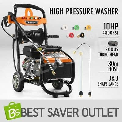 10HP 4800PSI High Pressure Washer Cleaner 4 Stroke Petrol Water Gurney 30M Hose