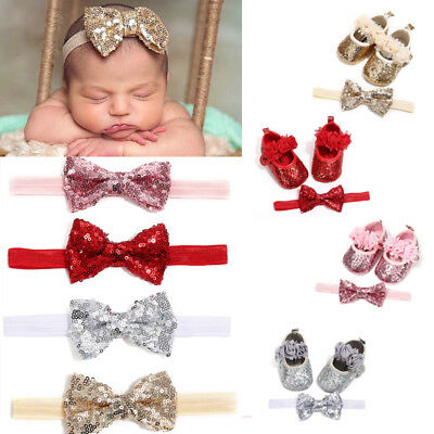 AU Kids Baby Girl Sequins Party Shoes+Hairband Infant Soft Sole Crib Shoes 0-18M