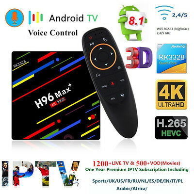 H96 Max+ 4 Core Android 8.1 4K TV Box 4+32G WiFi+Voice Control+1 Year IPTV Gift
