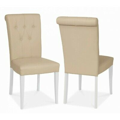 Georgian Painted White & Oak Furniture Padded Ivory Pleather Dining Chair PAIR