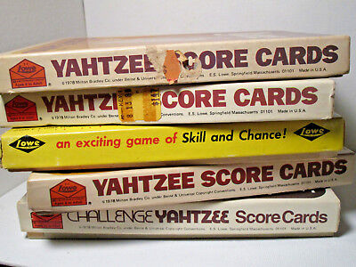 Vintage Yahtzee Game Score Cards Mixed Lot of  5 Boxes