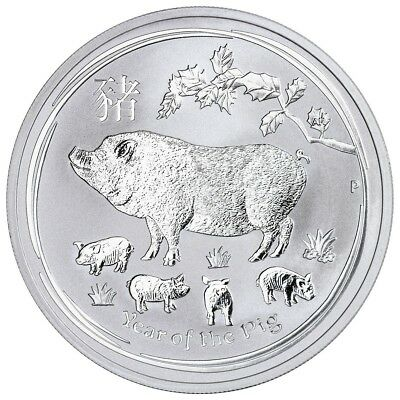 2019 1/2 oz Silver Lunar Year of The Pig BU Australian Perth Mint In Capsule