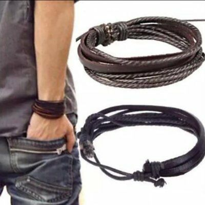 Mens Boys Handmade Leather Braided Surfer Wristband Bracelet Bangle Wrap Punk