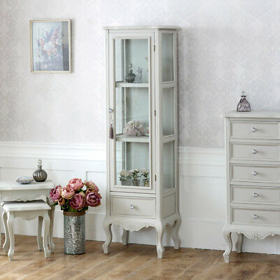 Grey wooden ornate glazed display cabinet shabby french chic bedroom furniture