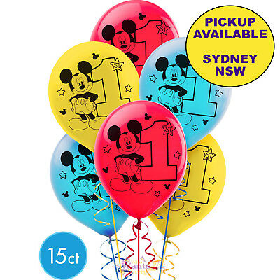 Mickey Mouse 1St Birthday Party Supplies 15 Latex Balloons Decorations