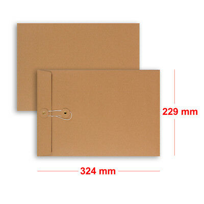 Quality String & Washer Strong Bottom&Tie Without Gusset Envelopes Manilla - C4