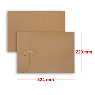 Quality String & Washer Strong Bottom&Tie With Gusset Envelopes Manilla - C4