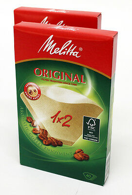 2 PACKS Genuine Melitta Two Cup Coffee Filter Papers 1 X 2 80087X2 - 80 In Total