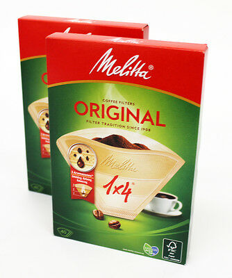 2 PACKS Genuine Melitta Four Cup Coffee Filter Papers 1 X 4, 80 IN TOTAL 80086X2