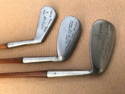 3 Playable R. W. Godfrey Hickory Shafted Irons With Good Swing Weights .....nice