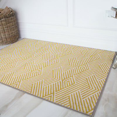 Yellow Grey Bordered Geometric Rug Soft Chevron Moroccan Ochre Living Room Rugs