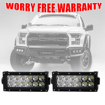 Pair Light Bar 7Inch Dual-Rows LED Light Pods Spot Off Road Lights For Jeep Ford