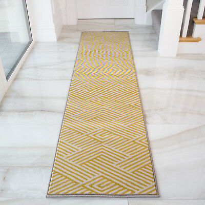 Yellow Ochre Grey Geometric Hall Runners Long Narrow Think Hallway Runner Rugs