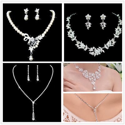 Prom Wedding Party Bridal Jewelry Diamante Crystal Pearl Necklace Earrings Set