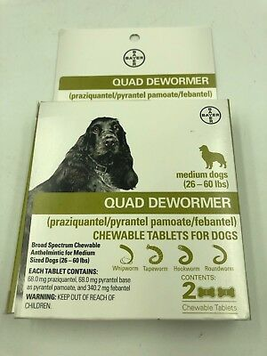 Bayer Quad Dewormer Tablets for Medium Dogs 2ct 26-60 Lbs Chewable - Exp 2020