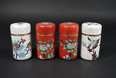 4x Teedose Messing emailliert Cloisonne China 2.Hälfte 20.Jhd (H749)