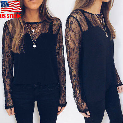 USA Women Ladies Sexy Black Lace Crew Neck Long Sleeve Loose Blouse Tops T-Shirt