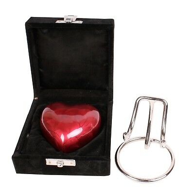 Small heart cremation ashes urn keepsake funeral memorial Red Heart Stand & Box