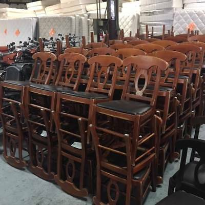 Lot of 40 Wood Frame Restaurant Chair w/ Black Vinyl Seat