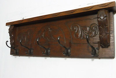 Antique Coat Rack Carved Wook Oak Wood Old Coat Rack