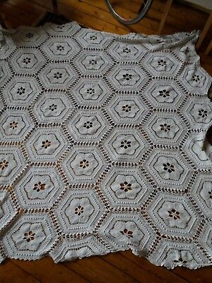 Vintage, French, hand made, white cotton, crocheted and knitted bedspread. vgc.