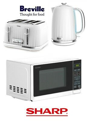 White Breville Impressions Kettle and Toaster Set & Sharp Microwave - New