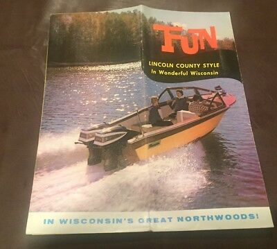 VINTAGE 1960's LINCOLN COUNTY WISCONSIN LAKES REGION BROCHURE MAP