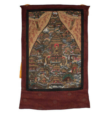 Tibet 20. Jhd. Thangka - A Tibetan Thang-ka Life of the Buddha Tibétain Tibetano