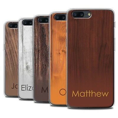 Personalised Custom Wood Grain Effect Case for OnePlus 5/Initial/Name/Text Gel