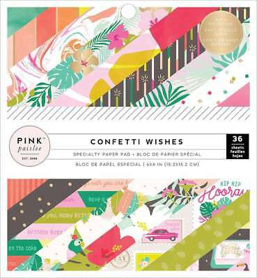 """Pink Paislee Single-Sided Paper Pad 6""""X6"""" 36/Pkg Confetti Wishes 718813106559"""
