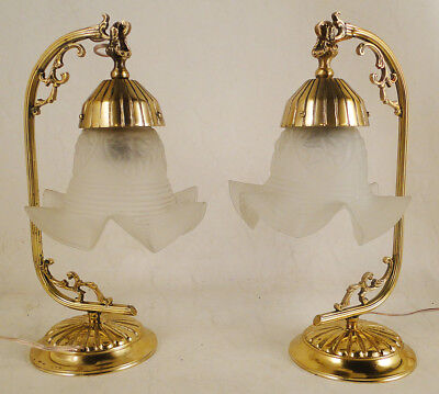 Antique solid bronze and glass french pair of sconces With glass tulip