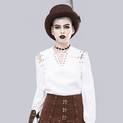 Women Puff Sleeve Tops Ladies Gothic Lace Up Cotton T Shirt Medieval Blouse