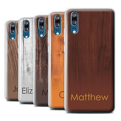 Personalised Custom Wood Grain Effect Case for Huawei P20/Initial/Name/Text Gel