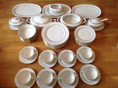 Hutschenreuther ( Rosenthal ) Germany 52 Piece Dinner Service White Gold & Gray.