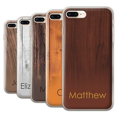 Personalised Custom Wood Grain Effect Case for Apple iPhone 8 Plus/Initial Gel