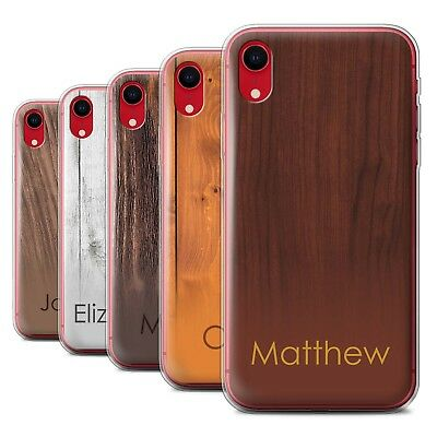 Personalised Custom Wood Grain Effect Case for Apple iPhone XR/Initial Gel