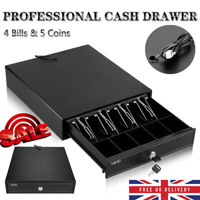 Heavy Duty POS Cash Drawer Register 4-Bills 5-Coins Removable Cash Tray Till Box
