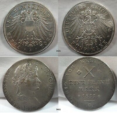 HUGE SALE - 40% off - One Lot of 38 German States Silver Coins, 1584 to 1904.
