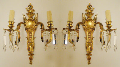Antique solid bronze and glass french Louis XV style pair of sconces (1209)