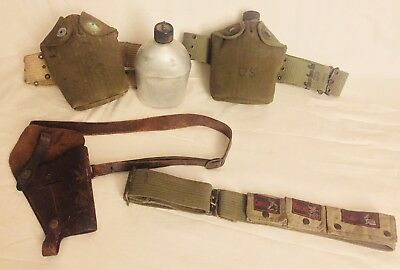 US ARMY MilItary VOLLRATH WWII 1944 2 Canteen Holders Utility Belt & Gun Holster