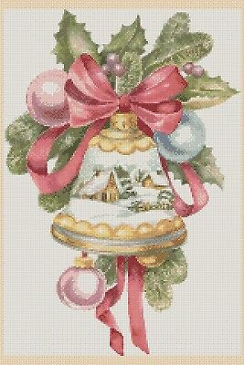 Christmas Cross Stitch Chart - Christmas Bell Snow Globe No. 438.TSG37