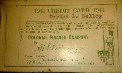 1944 Credit Card for Bertha Kelley Colonial Finance Company