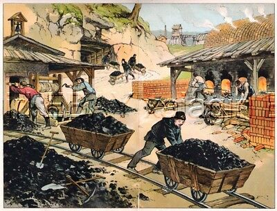 COAL MINING, Detailed View, Antique 1891 Color Print