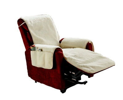 Fleece Recliner Chair Cover Furniture Protector with 6 Storage Pockets