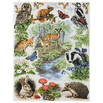Anchor Woodland Sampler Counted Cross Stitch Kit Pce958 40Cm X 30Cm Fox Deer Owl