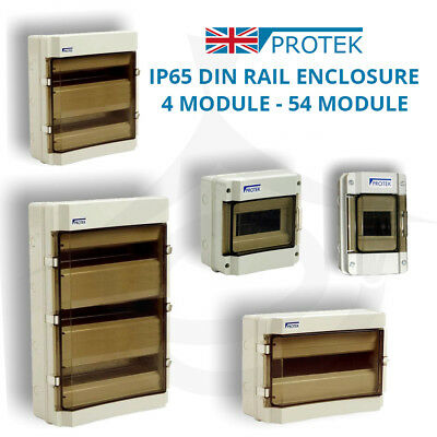 PROTEK DIN Rail Enclosure IP65 Weatherproof for Consumer Units 4 - 54 Module