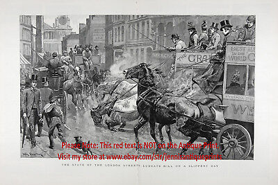 England Ludgate Hill Carriage Horses Falling, Huge 2X-Folio 1880s Antique Print